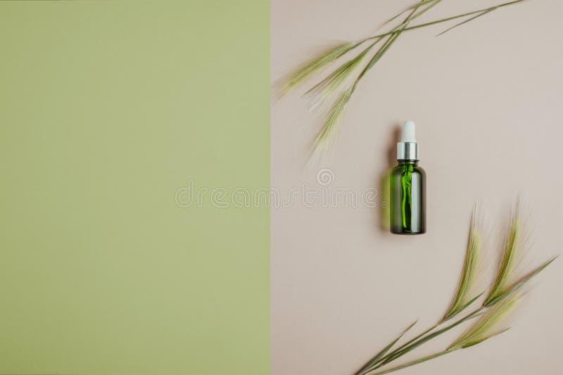Cosméticos naturais, soro para o cabelo e cuidados com a pele O conceito de cosméticos orgânicos, naturais Configuração lisa, min imagem de stock