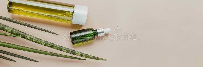Cosméticos orgânicos, naturais Champô natural, tônico, soro para o cabelo e pele Configuração lisa, minimalismo, cor pastel bande imagens de stock royalty free