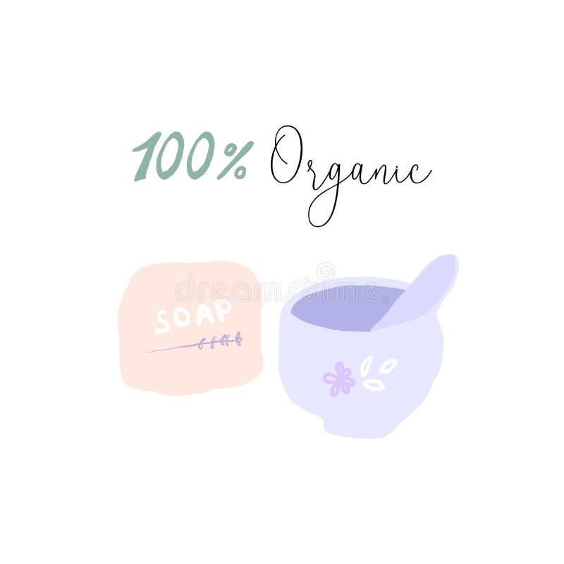 100 cosméticos ou conceitos ORGÂNICOS da mulher dos cuidados com a pele ilustração do vetor