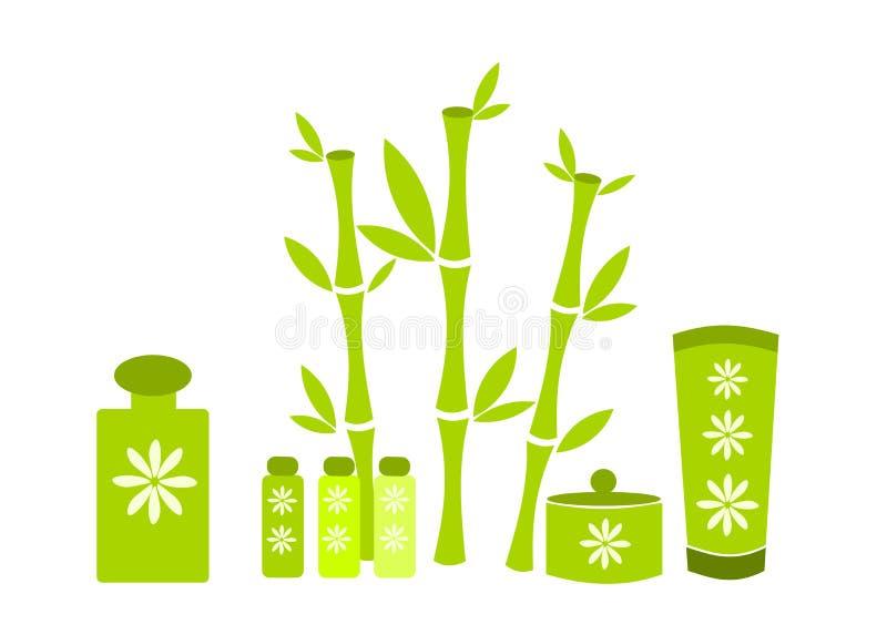 Cosméticos verdes dos termas ilustração stock