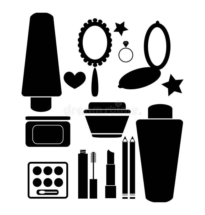 Cosméticos y productos de belleza stock de ilustración