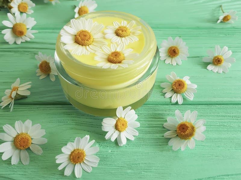 Cosmétique crème, protection de produit de fleur de marguerite d'extrait sur le fond en bois en bon état, camomille photographie stock libre de droits