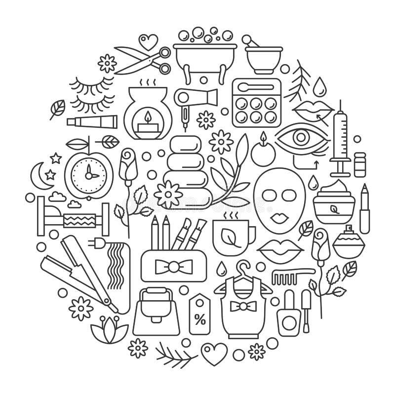 Cosmétique de beauté en cercle - ligne de concept illustration de vecteur pour la couverture, emblème, insigne Salon de coiffure, illustration stock
