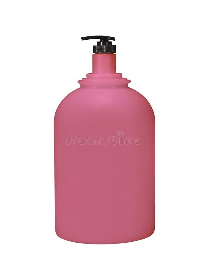 Cosmétique de pompe de distributeur ou rouge d'hygiène, bouteille en plastique de gel photo libre de droits
