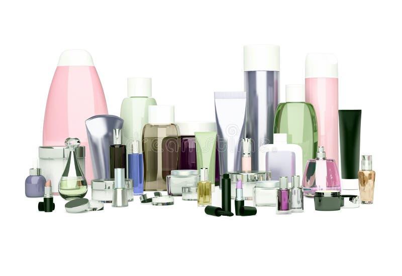 Cosmétique quotidien, de beauté de soin et produits de maquillage Crème de visage, ey image stock
