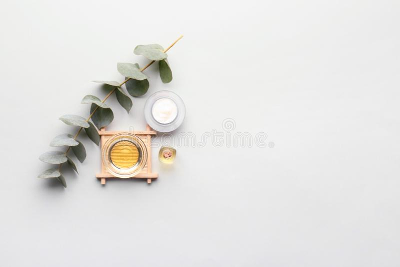 Cosmétiques avec l'extrait d'eucalyptus sur le fond clair photo stock