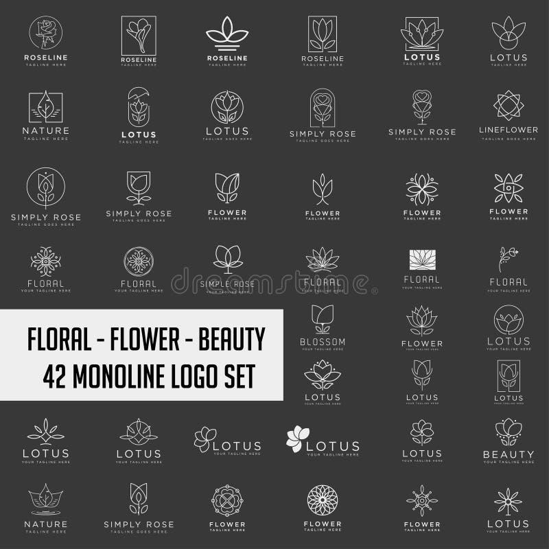 Cosmétiques de salon de station thermale de beauté d'abrégé sur collection de Lotus Flower Logo photo libre de droits