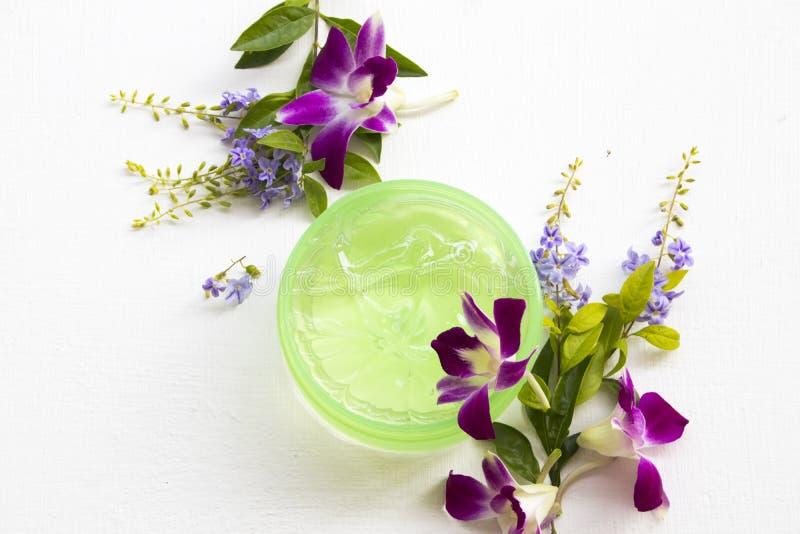 Cosmétiques naturels apaisant des soins de santé de gel pour le visage de peau images libres de droits