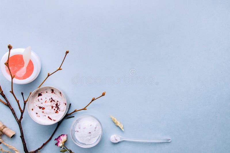 Cosmétiques organiques avec les ingrédients faits main végétaux Station thermale, soins à domicile : les masques, épluchage, frot image libre de droits