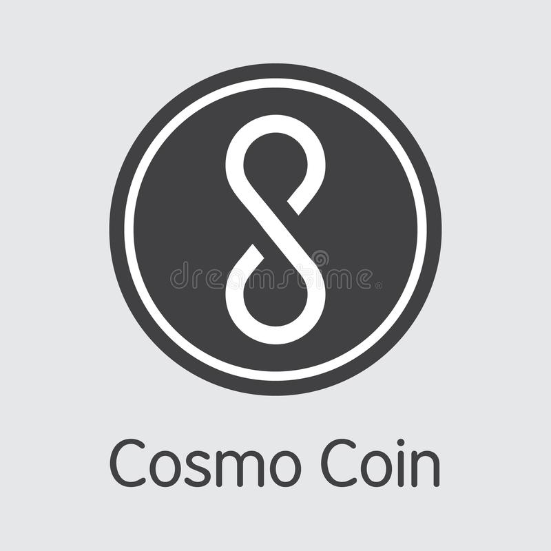 COSM - Cosmo-Münze Das Geschäftslogo des Geld-oder Markt-Emblems vektor abbildung