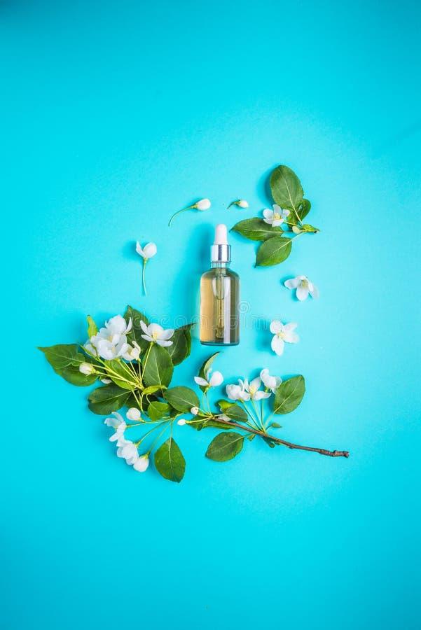 Cosm?tiques organiques naturels sur le fond bleu dans un cadre des fleurs Concept de station thermale photos libres de droits