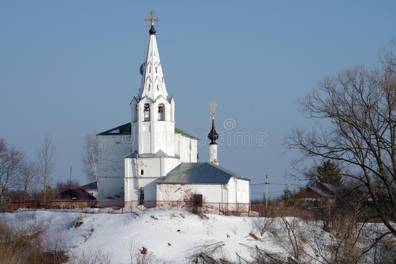 Cosmas and Damian Church on Mount Yarunovo in Suzdal. SUZDAL, RUSSIA - February 21, 2015: Cosmas and Damian Church on Mount Yarunovo in winter day stock photo