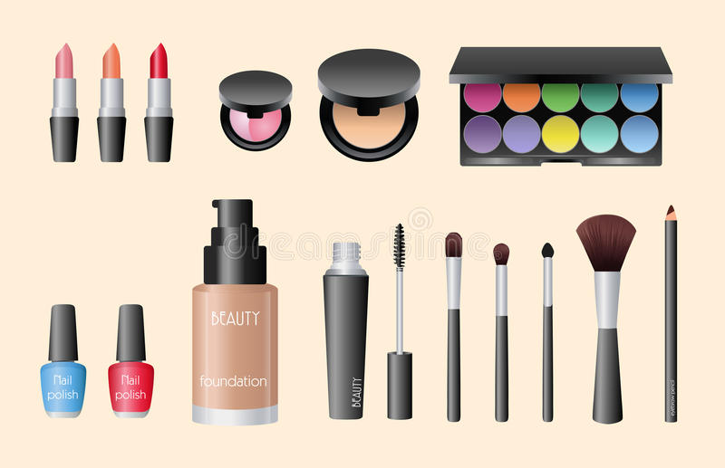 Cosmatic vector set. Make-up beauty product vector set royalty free illustration