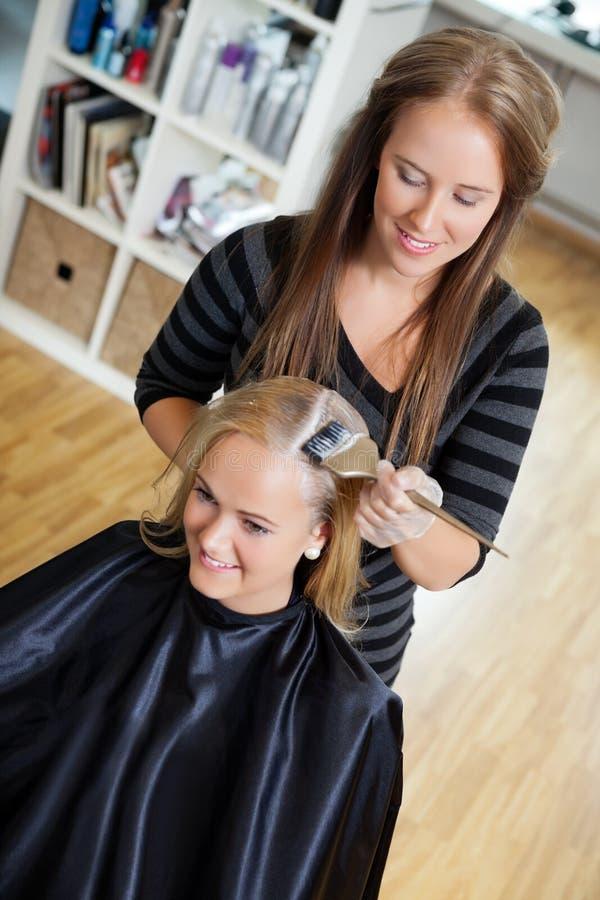 Cosmetólogo Applying Hair Colour a la mujer fotografía de archivo libre de regalías