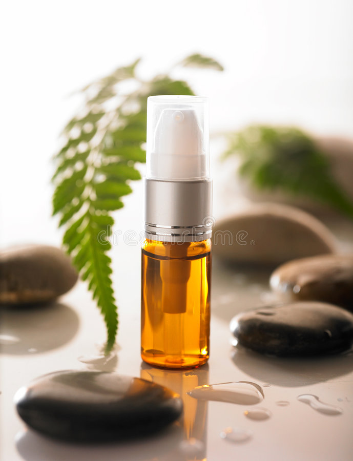 Cosmetic. Bottle of cosmetic with stone and fern leaf in background stock image
