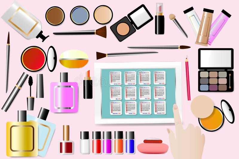 Calendar 2018 for cosmetic services concept. Cosmetic accessories are around a Calendar for 2018 year in the centre of the vector. All is on the pink background vector illustration