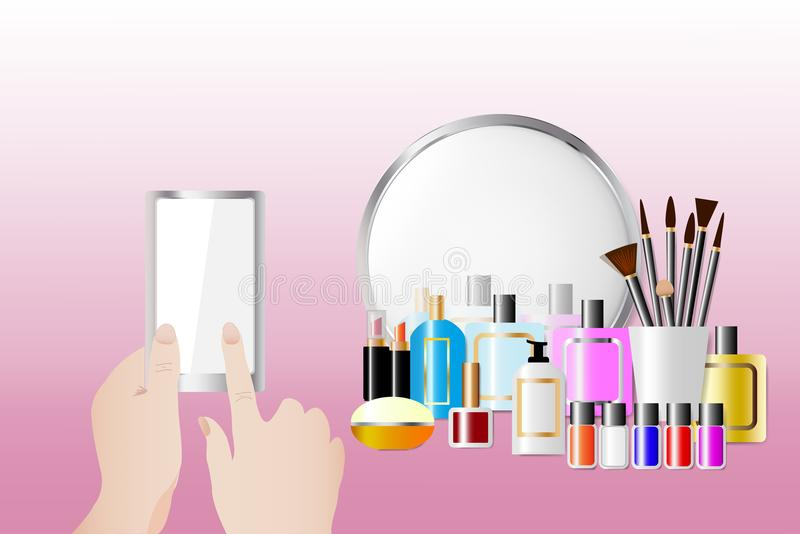 Cosmetic accessories and touching smart phone. Cosmetic accessories standing in front of a mirror on the pink background. Female hands are holding a smart phone royalty free illustration