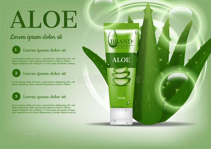 Cosmetic ad, Foam with aloe vera tree and bubbles on green background vector illustration