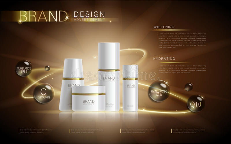 Cosmetic ads template. Blank cosmetic mockup with sparkling effect. Product information and translucent liquid ball around the bottles. 3D illustration