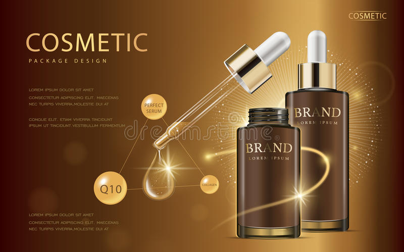 Cosmetic ads template. Glass droplet bottle with essence oil isolated on brown background. 3D illustration. Q10 and other ingredients on poster stock illustration