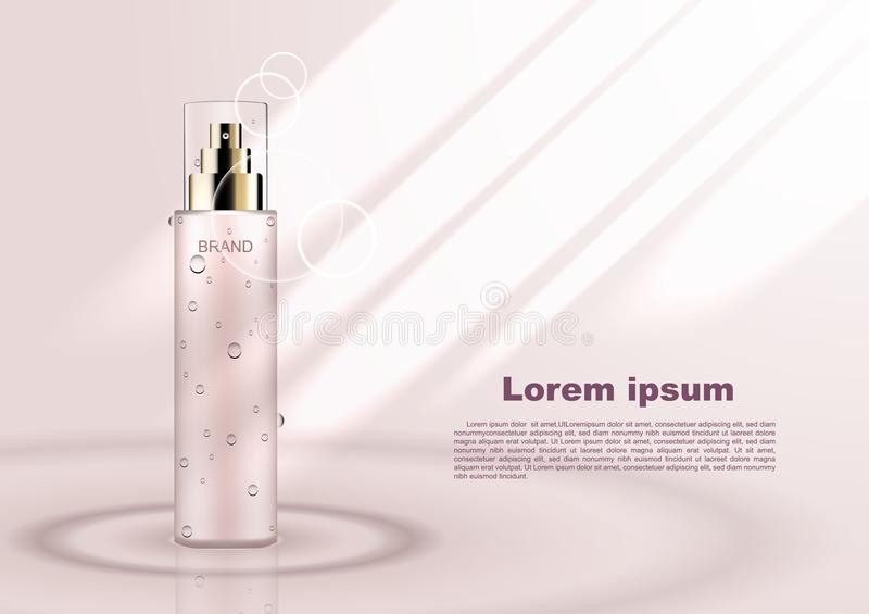 Cosmetic ads template, serum on water with shining light.  stock illustration
