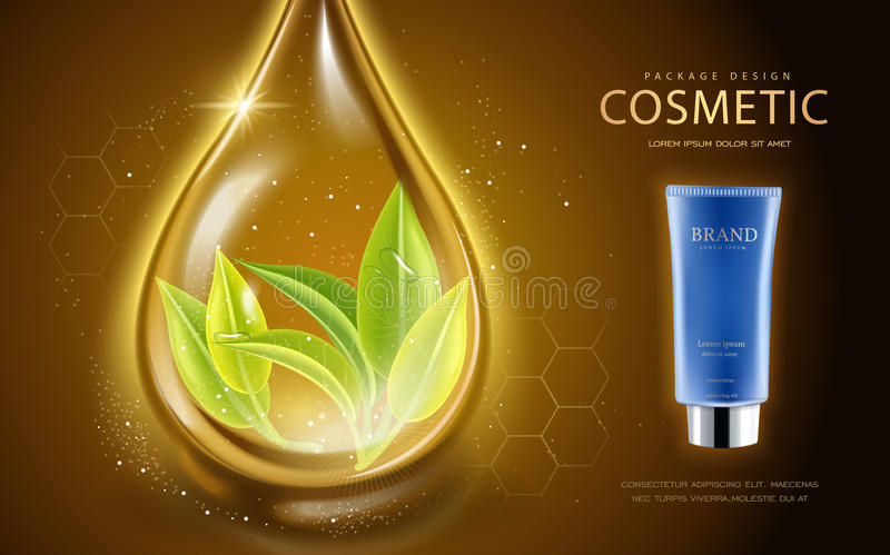 Cosmetic ads template. Cosmetic tube with leaves in the essence oil drop. 3D illustration for fashion magazine or ads stock illustration