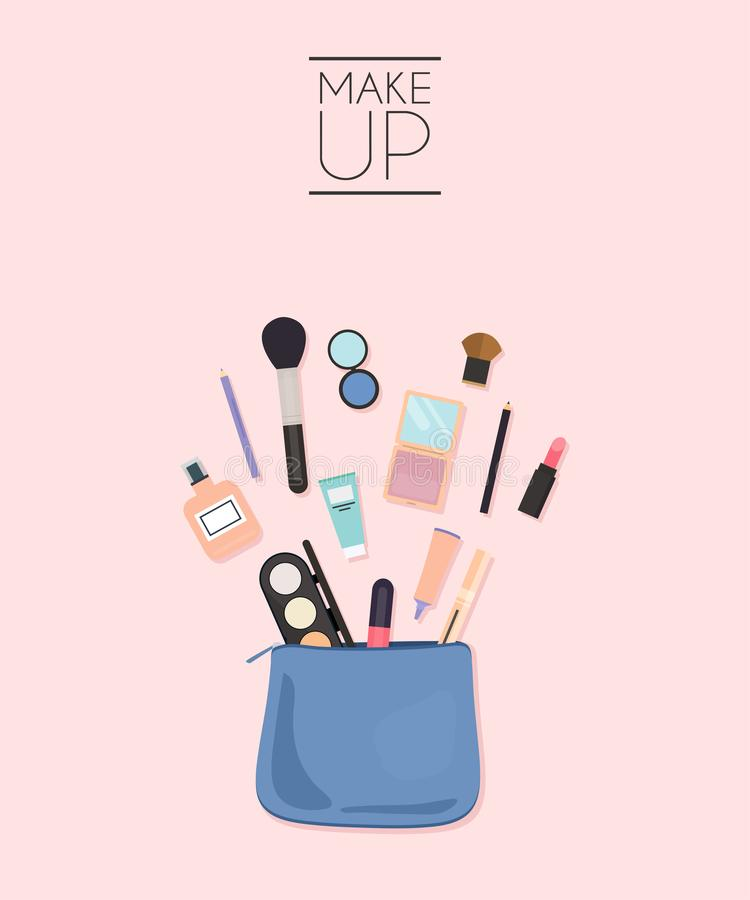 Cosmetic bag with makeup stuff. Beauty style isolated on white background.  stock illustration
