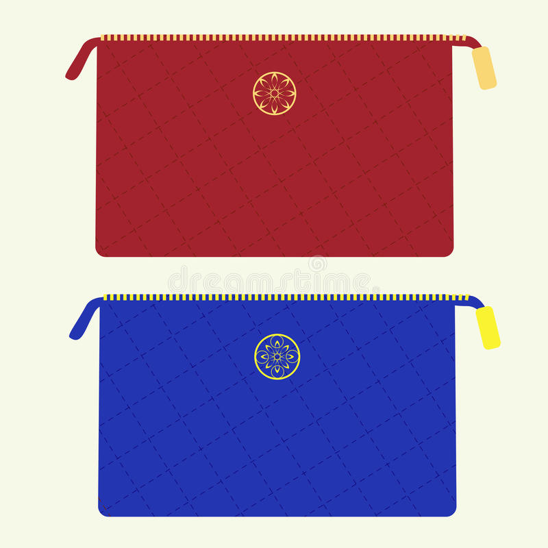Cosmetic bag in red and blue colors. Cosmetic bag from stitched fabric with golden zipper and emblem in red and blue colors stock illustration