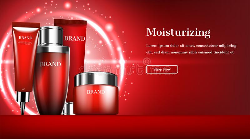 Cosmetic banner, Skincare set with glowing circle lights on red background.  vector illustration