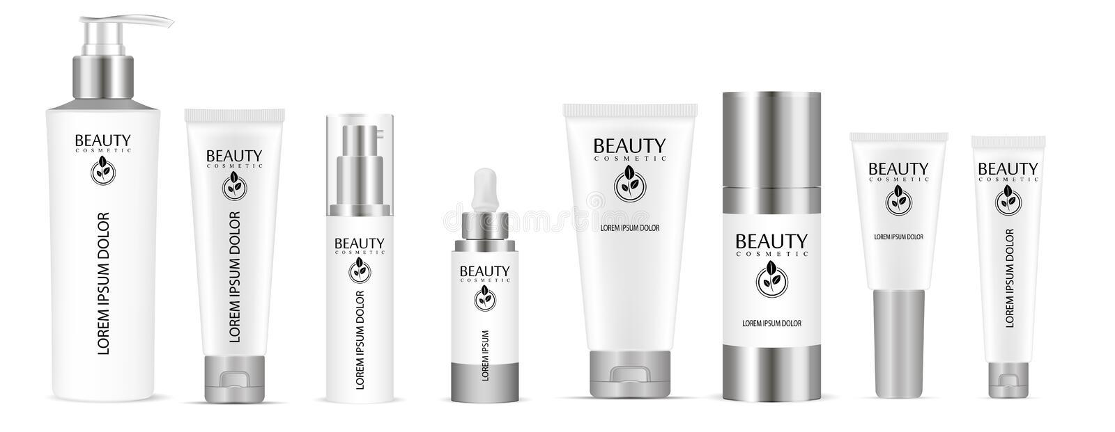 Cosmetic base glass bottle. Vector design of cosmetic package. Advertising of tonal cream, concealer, base. Nutritious cream, gel,. Body lotion with protein of stock illustration