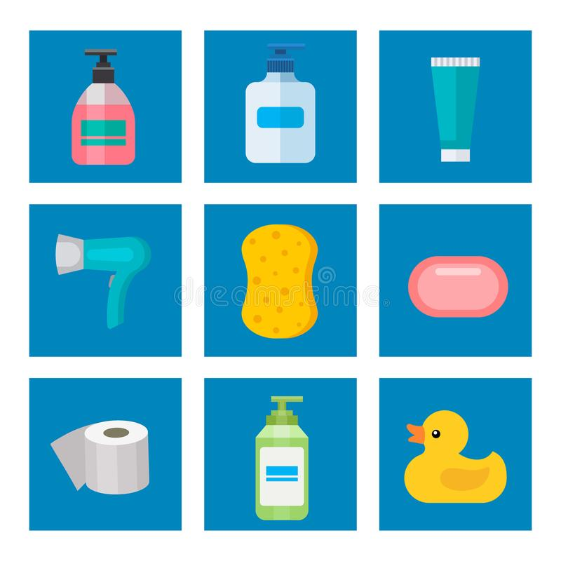 Cosmetic bathroom bottles of household chemicals supplies cleaning housework plastic detergent liquid domestic fluid royalty free illustration