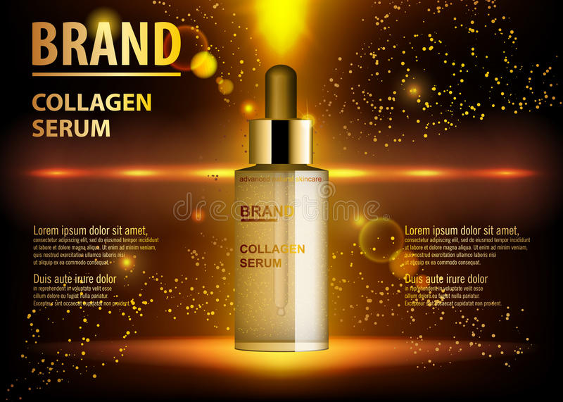 Cosmetic beauty product, ads of premium serum essence bottle for skin care. Gold cosmetic glass bottle with dropper. Cosmetic beauty product, ads of premium royalty free illustration