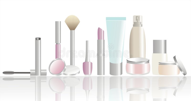Cosmetic and beauty products vector illustration