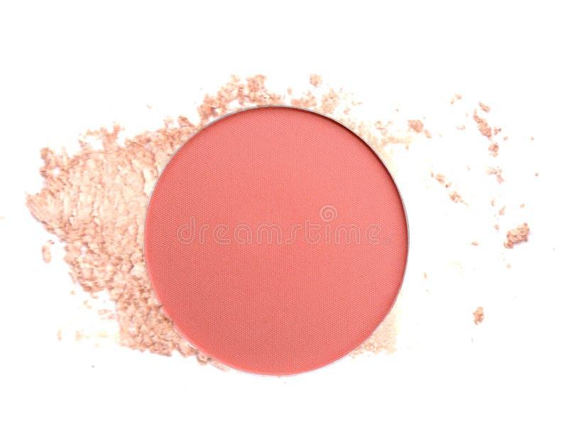 Cosmetic blush or make up powder isolated on white background stock image