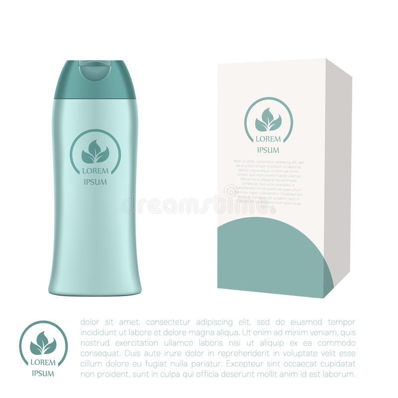 Cosmetic bottle and a box. Vector image of the Cosmetic bottle and a box royalty free illustration