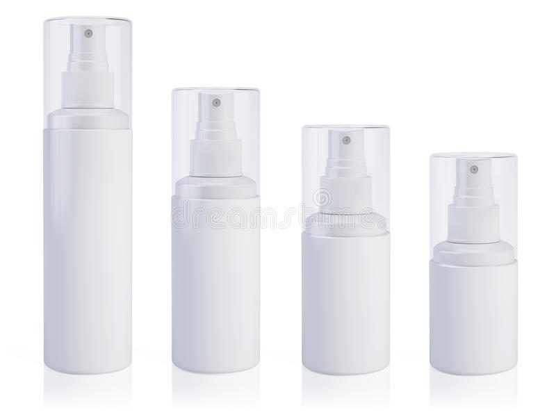 Cosmetic bottle can sprayer containers. Template Mock up for your design. royalty free illustration
