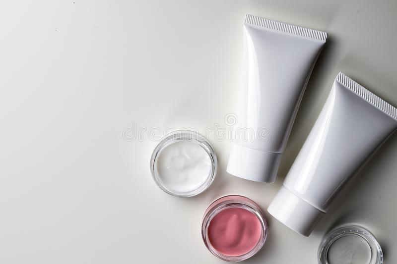Cosmetic bottle containers , Blank label package for branding mo royalty free stock photo