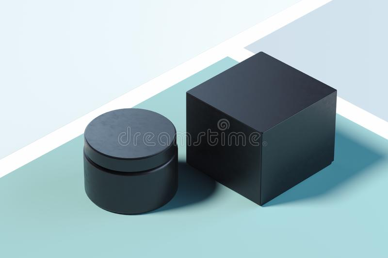 Black plastic Cosmetic Bottle for cream on multicolored background. 3d rendering stock illustration