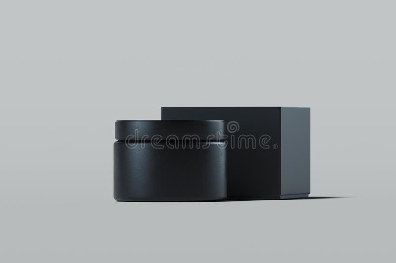 Cosmetic Bottle for cream, gel, lotion. Black plastic cream jar. 3d rendering. Cosmetic Bottle for cream, gel, lotion. Beauty product package, blank template of vector illustration