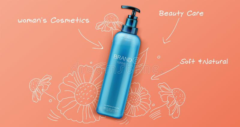 Cosmetic bottle mockup, natural beauty cosmetics. Product for face or body care on orange background with hand drawn sketchy flowers, tube package design, promo royalty free illustration