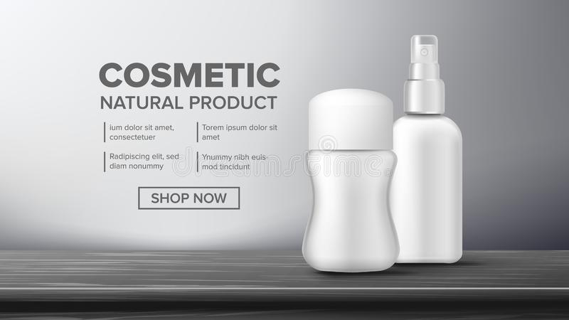 Cosmetic Bottle Package Vector. Beauty Bckground. Jar Blank. Glossy, Bright. Clean, Glowing. 3D Mockup Realistic. Cosmetic Bottle Advertising Vector. Luxury vector illustration