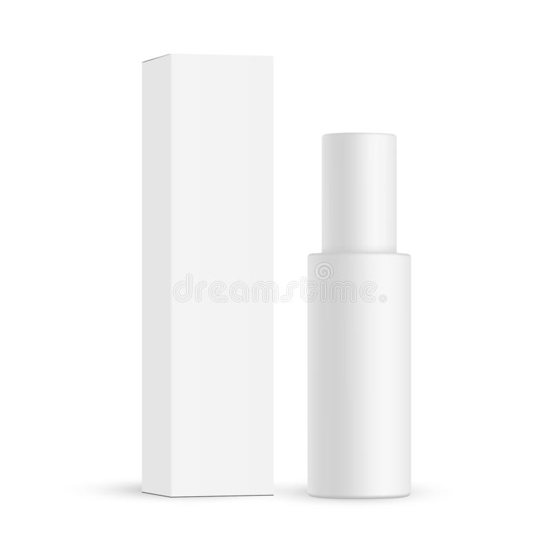 Cosmetic bottle with paper box mockup isolated vector illustration