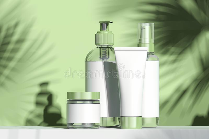 Cosmetic Bottle Set for cream, lotion. Blank plastic containers. 3d rendering. stock illustration