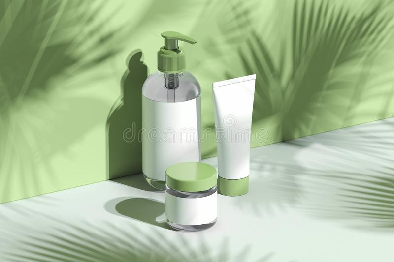 Cosmetic Bottle Set for cream, lotion. Blank plastic containers. 3d rendering. vector illustration