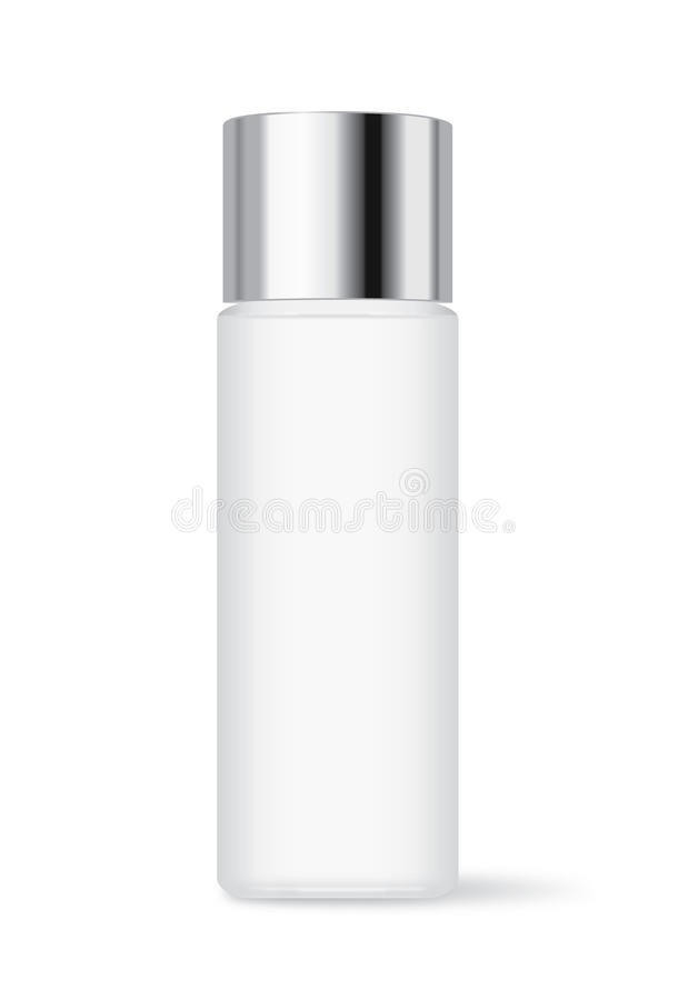 Cosmetic bottle with silver cap royalty free illustration