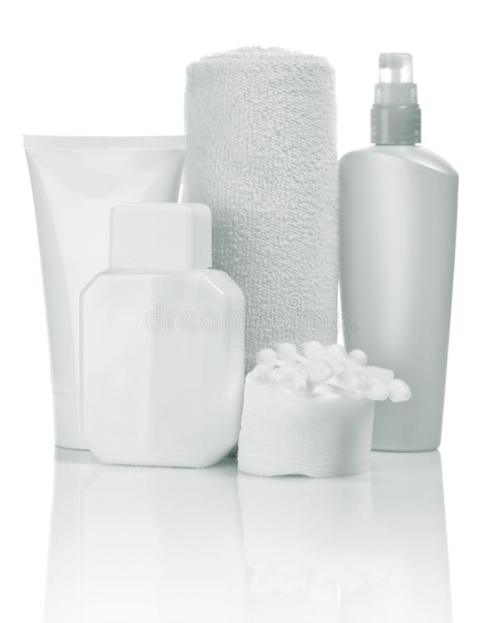 Free Cosmetic Bottles And Towel Stock Image - 15661281