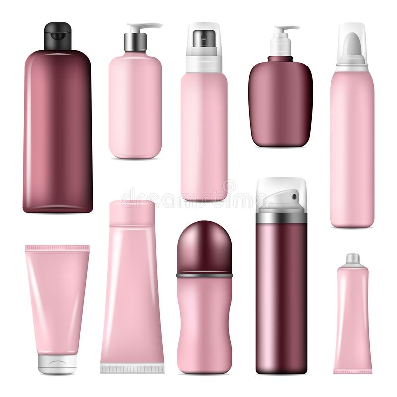 Cosmetic bottles and cream conteiners mock up royalty free illustration