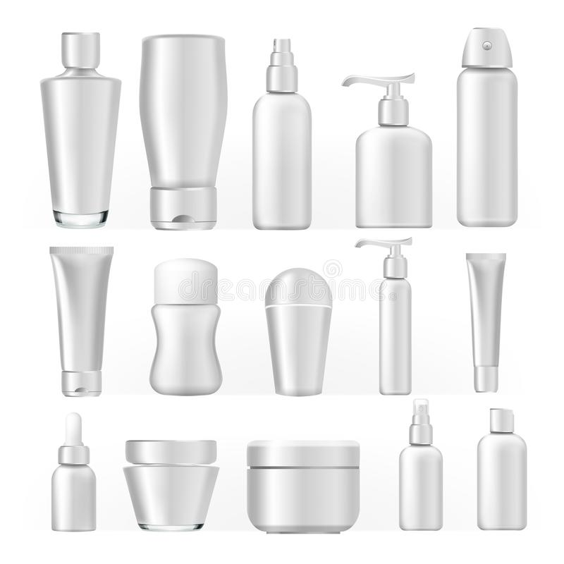 Cosmetic Bottles Set Vector. Empty Plastic White Package For Cosmetic Product. Container, Tube, Bottle, Spray For Cream vector illustration