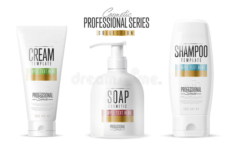 Cosmetic brand template. Realistic bottle set. royalty free illustration