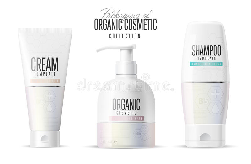 Cosmetic brand template. Realistic bottle set. Cosmetic brand template. Vector packaging. Body care product. Oil, lotion or soap, shampoo, cream. Realistic stock illustration